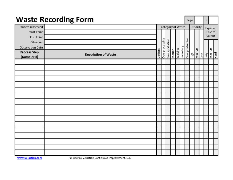 Click the image to download a free Waste Recording Form.
