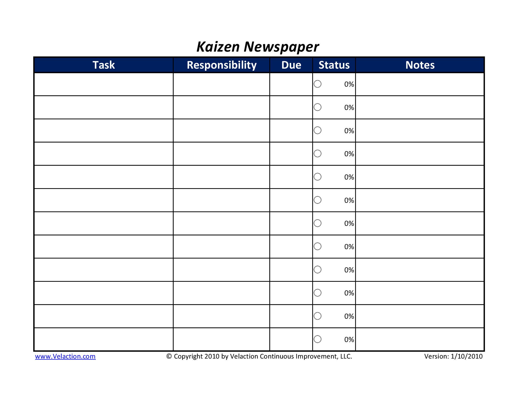 kaizen newspaper form