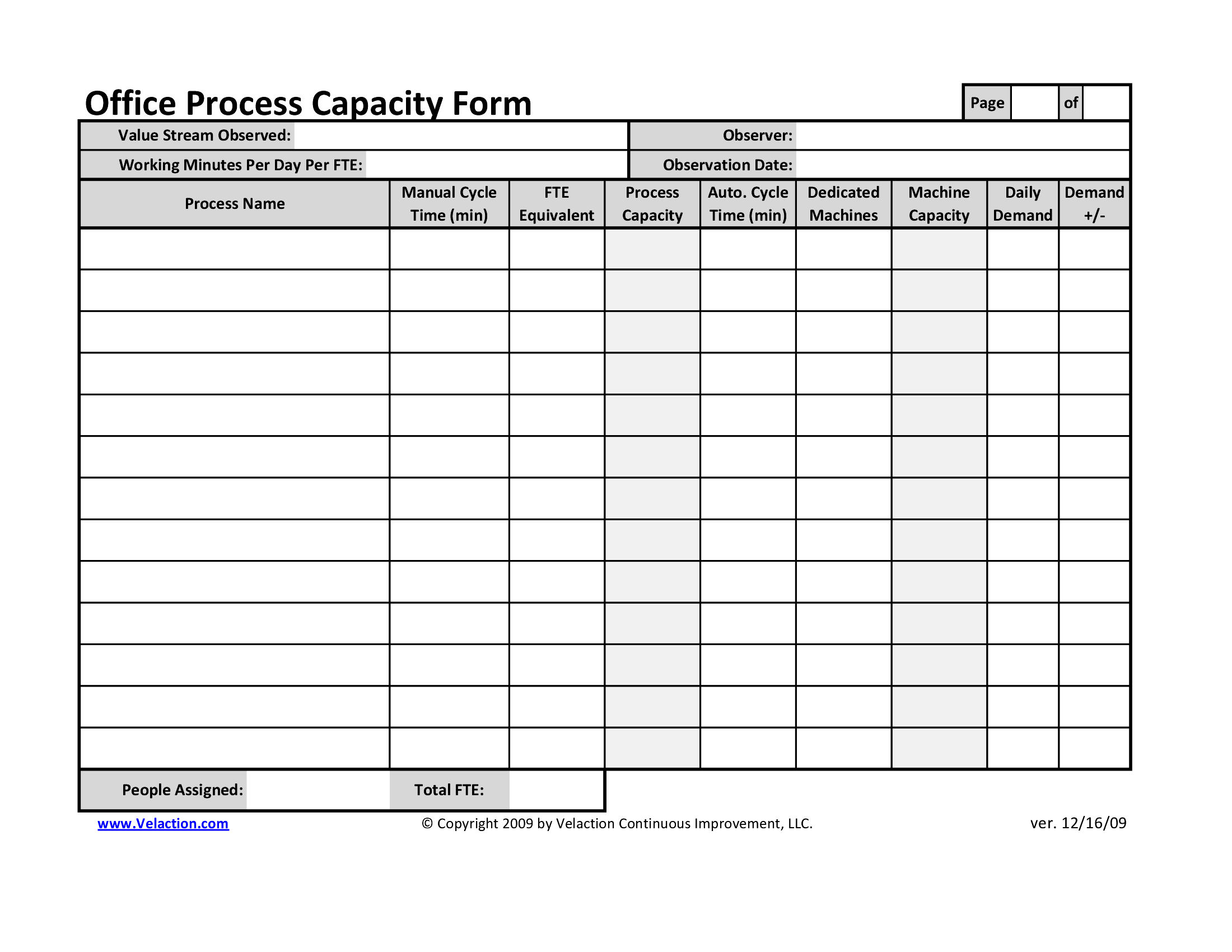 office process capacity sheet. Black Bedroom Furniture Sets. Home Design Ideas