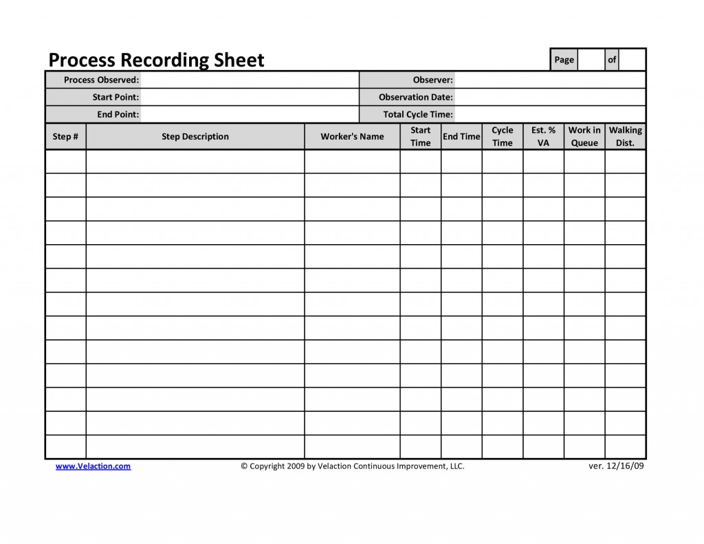 rework instructions template - office process recording sheet
