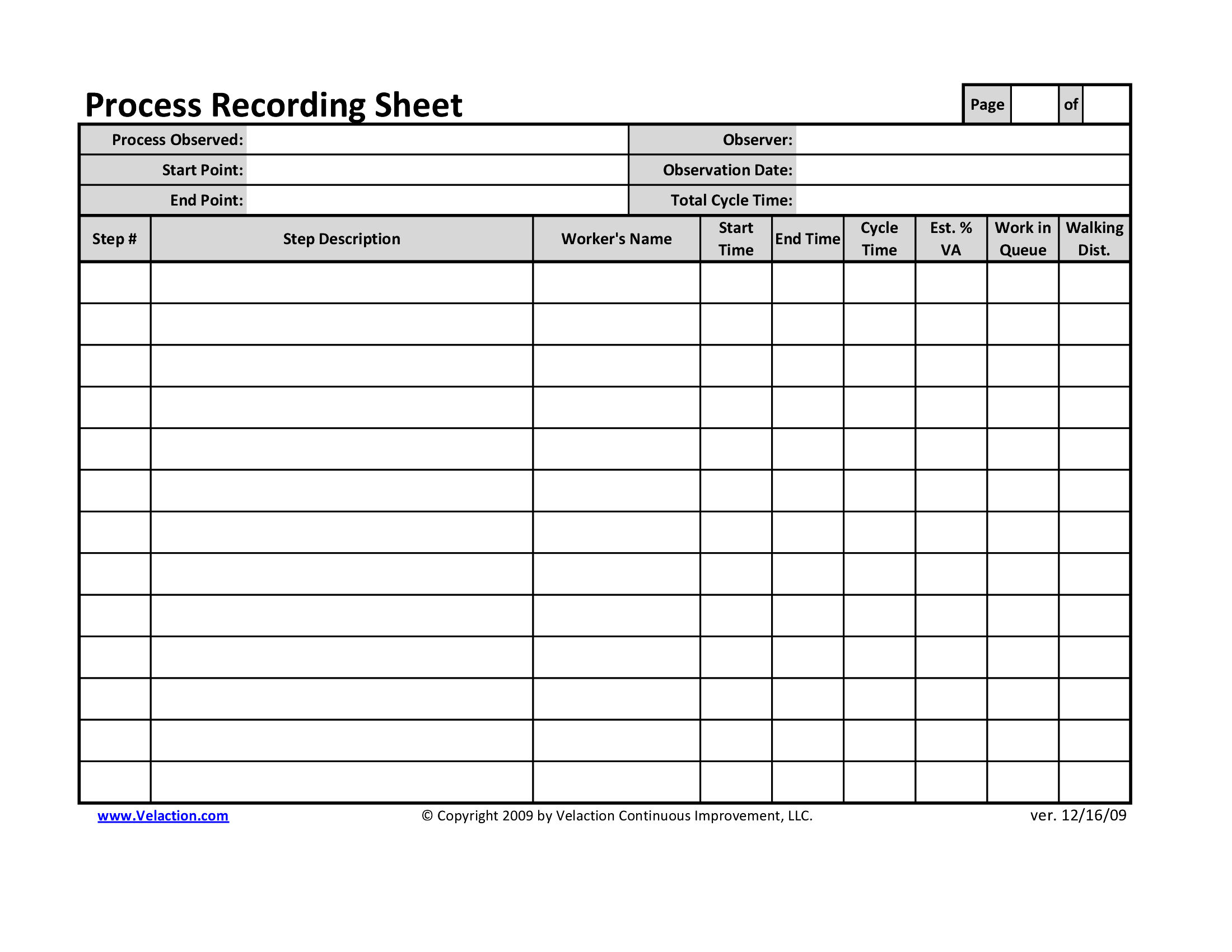 electronic checklist template - office process recording sheet